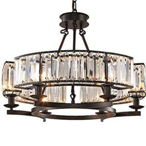 NOXARTE Luxury Round Crystal Chandelier Vintage Hanging Ceiling Light Pendant LED Dimmable Fixture for Dining Room Bedroom Black