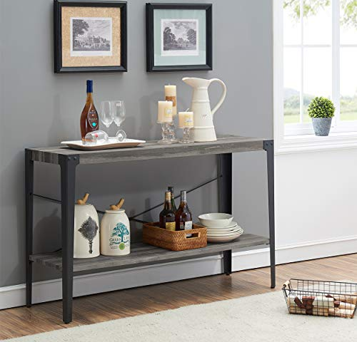 O&K Furniture 2-Tier Industrial Sofa Table, Metal Hall Console Table with Storage Shelf for Living Room and Entryway, Gray Finish(1-Pcs)