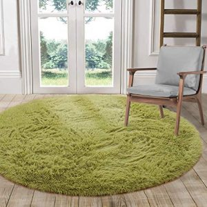 LOCHAS Luxury Round Fluffy Area Rugs for Kids Bedroom Super Soft Living Room Home Shaggy Carpet 4-Feet, Green