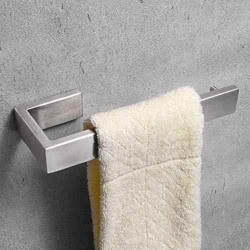 Nolimas Bathroom Hardware Towel Bar SUS 304 Stainless Steel Square Towel Ring Shelf Holder Rack for Bath Kitchen Garage Heavy Duty Wall Mounted, Nickel Brushed