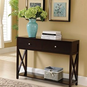 Kings Brand Furniture - Console Sofa Entryway Table with Storage Shelf & Drawers, Cherry