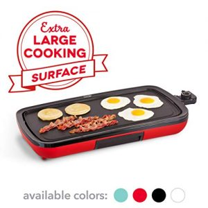 DASH DEG200GBRD01 Everyday Nonstick Electric Griddle for Pancakes, Burgers, Quesadillas, Eggs & other on the go Breakfast, Lunch & Snacks with Drip Tray + Included Recipe Book, 20in, Red.