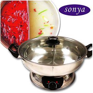 Sonya Shabu Shabu Hot Pot Electric Mongolian Hot Pot W/DIVIDER UL Approved for safety