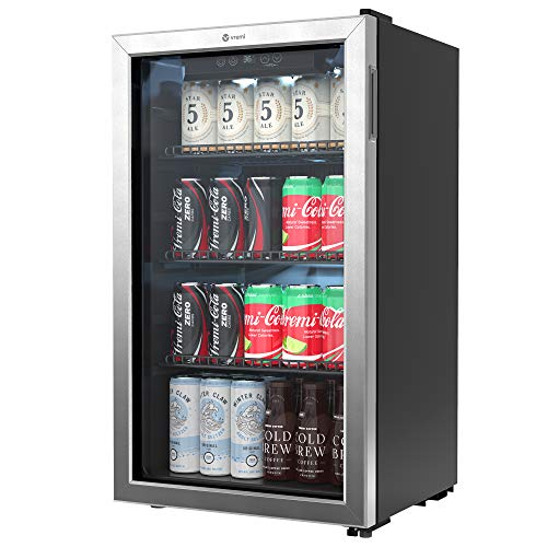 Vremi Beverage Refrigerator and Cooler - 100 to 120 Can Mini Fridge with Glass Door for Soda Beer or Wine - Auto Defrost Drink Dispenser Machine for Office or Bar with Adjustable Removable Shelves