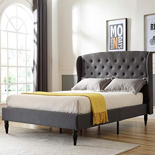Classic Brands Coventry Upholstered Platform Bed   Headboard and Metal Frame with Wood Slat Support, Queen, Grey