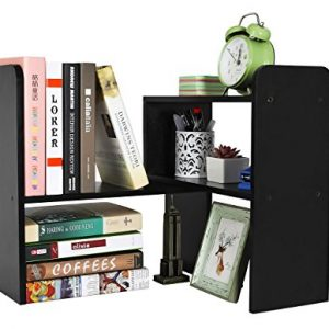PAG Desktop Bookshelf Adjustable Countertop Bookcase Office Supplies Wood Desk Organizer Accessories Display Rack, Black