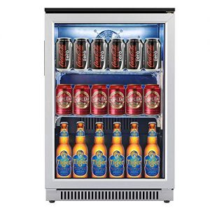 Advanics Frost Free Beverage Refrigerator and Cooler, 110 Can Mini Fridge with Led Lighting for Beer Soda or Wine, Small Drink Center for Office or Bar, Stainless Steel & Glass Door