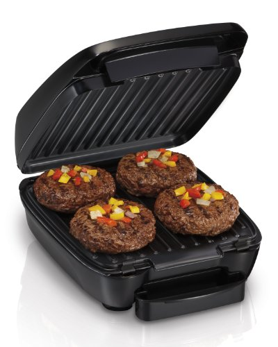 Hamilton Beach 4-Serving Electric Indoor, Removable Nonstick Plates, Low Fat Grilling, Black (25357)