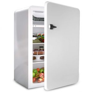 Retro Compact Refrigerator, Safeplus 3.2 Cu.Ft Mini Fridge, Small Drink Food Storage Machine for Dorm, Garage, Camper, Basement or Office(White)