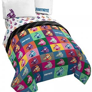 Jay Franco Fortnite Llama Warhol 4 Piece Twin Bed Set - Includes Reversible Comforter & Sheet Set Bedding - Super Soft Fade Resistant Microfiber - (Official Fortnite Product)
