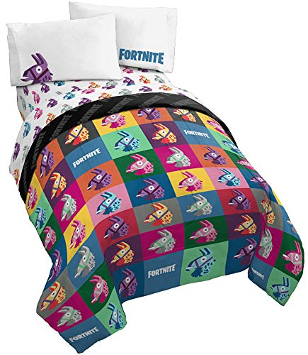 Jay Franco Fortnite Llama Warhol 4 Piece Twin Bed Set - Includes Reversible Comforter & Sheet Set Bedding - Super Soft Fade Resistant Microfiber - (Official Fortnite Product)