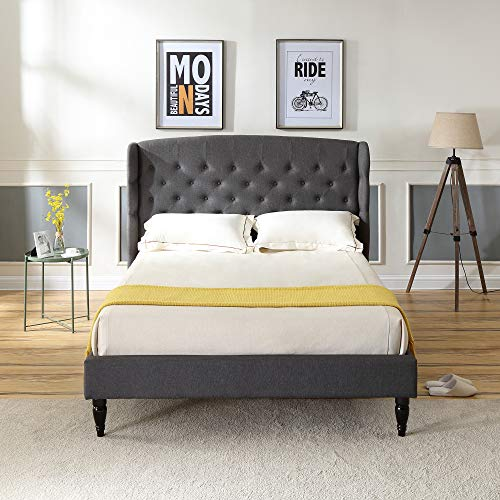 Classic Brands Brighton Upholstered Platform Bed | Headboard and Metal Frame with Wood Slat Support, Queen, Grey