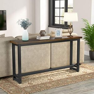 Tribesigns 70.9 Inches Extra Long Industrial Sofa Table, Wood Behind Couch Table, Rustic Console Table for Living Room & Entryway, Narrow Pub Bar Table for Home, Dark Brown