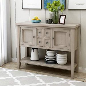 Wood Console Sofa Table with Storage Drawers and Bottom Shelf, WeYoung Console Tables for Entryway for Living Room (Antique Grey)