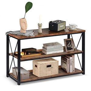 "charaHOME 47"" Sofa Table with Storage,3-Tier Industrial Console Entryway/Hallway Table Console TV Cabinet for Living Room, Open Bookshelf,Brown"