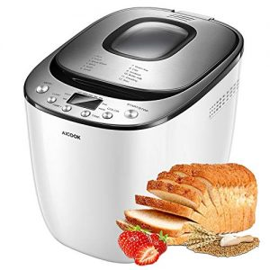 [2020 Upgraded] Automatic Bread Maker AICOOK, 2LB Programmable Bread Machine With LED Display, Visual Menu (12 Programs, 2 Loaf Sizes, 3 Crust Colors, 13 Hours Delay Timer, 1 Hour Keep Warm)