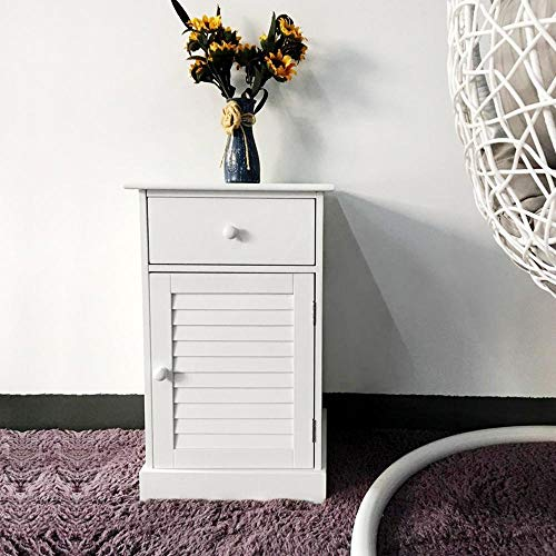 YAHEETECH Nightstand End Table with One Drawer and Slatted Door Bundle Dimensions: 13.eight x 11.9 x 23.7 inches