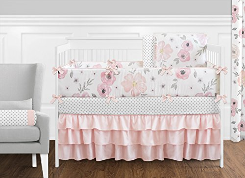 9 pc. Blush Pink, Grey and White Shabby Chic Watercolor Floral Baby Girl Crib Bedding Set with Bumper by Sweet Jojo Designs - Rose Flower Polka Dot