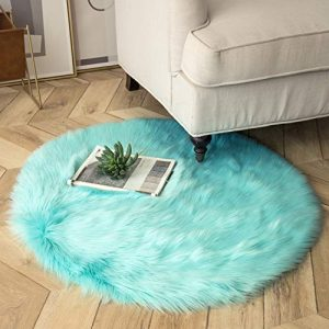 Ashler Ultra Soft Fluffy Area Rug Faux Fur Sheepskin Carpet Chair Couch Cover for Bedroom Floor Sofa Living Room, Turquoise Round 3 x 3 Feet