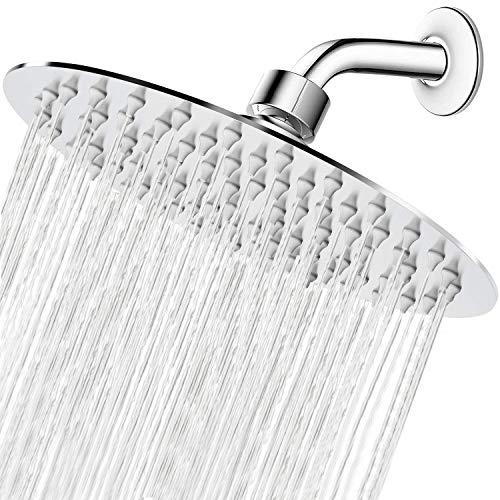 High Pressure Shower Head, 8 Inch Rain Showerhead, Ultra-Thin Design- Pressure Boosting, Awesome Shower Experience, NearMoon High Flow Stainless Steel Rainfall Shower Head (Chrome Finish)