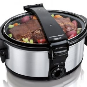 Hamilton Beach Stay or Go Portable 6 Quart Slow Cooker With Lid Lock for Easy Transport, Dishwasher-Safe Crock, Stainless Steel (33461)