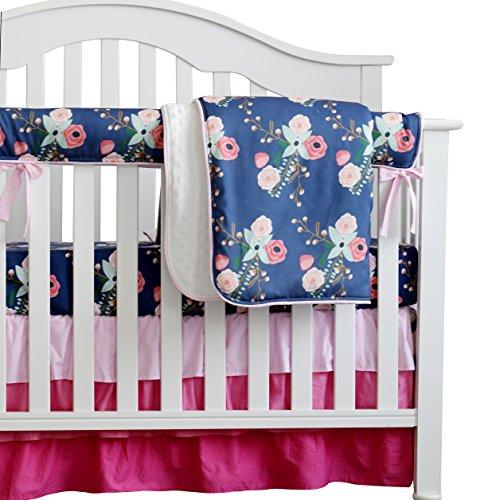 Boho Chic Coral Floral Ruffle Baby Minky Blanket Watercolor, Peach Floral Nursery Crib Skirt Set Baby Girl Crib Bedding (Navy Blue)