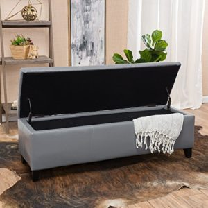 Christopher Knight Home Glouster PU Storage Ottoman, Grey