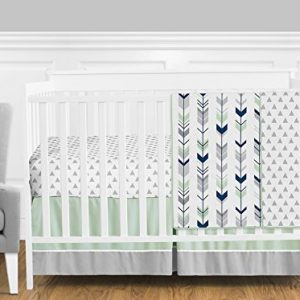 Grey, Navy Blue and Mint Woodland Arrow 4 Piece Baby Boy or Girl Crib Bed Bedding Set
