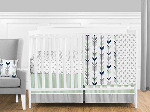 Grey, Navy Blue and Mint Woodland Arrow 4 Piece Baby Boy or Girl Crib Bed Bedding Set