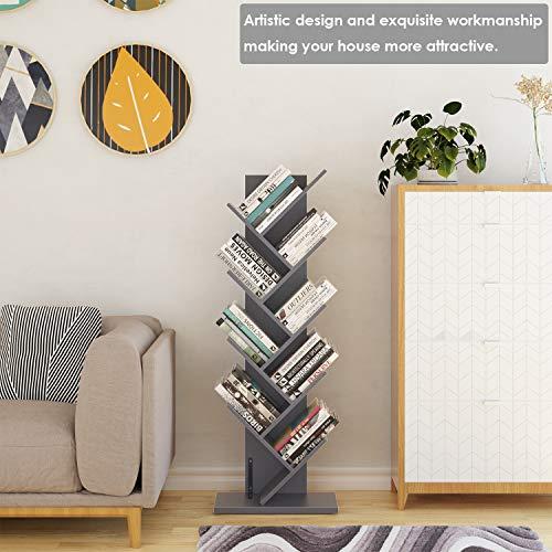Homfa Tree Bookshelf, 9-Shelf Rack Bookcase, Artistic Free Standing Book Storage Package deal Dimensions: 19.7 x 9.Eight x 55.1 inches