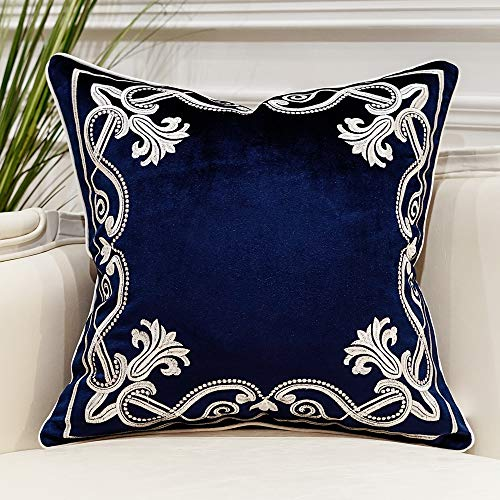 Avigers 20 x 20 Inch European Cushion Cover Luxury Velvet Home Decorative Embroidery Petunias Pillow Case Pillowcase for Sofa Chair Bedroom Living Room, Navy Blue