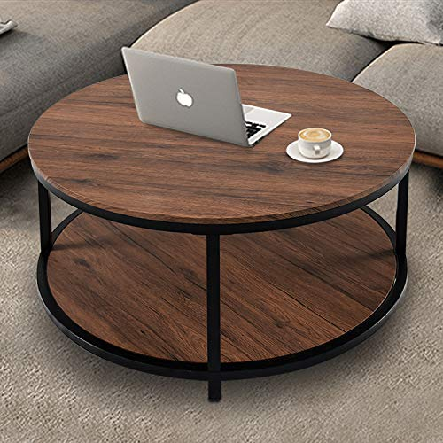 """NSdirect 36"""" Round Coffee Table, Rustic Wooden Surface Top & Sturdy Metal Legs Industrial Sofa Table for Living Room Modern Design Home Furniture with Storage Open Shelf (Dark Walunt)"""