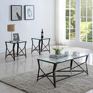 Kings Brand Furniture Kings Brand Furniture-3-Piece Occasional Set-Coffee 2 End Tables-Metal & Glass, Bronze