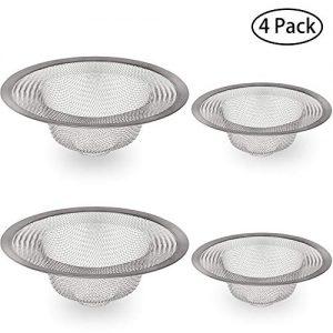 IHUIXINHE Stainless Steel Filter Trap, Sink Filter, Bathroom Tub Mesh Strainer, for Kitchen, Bathroom, Bathtub, Toilet, Wash Basin Drain, 2 Large & 2 Small (4 Pack)