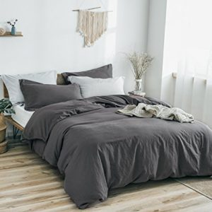PHF Washed Linen Cotton Duvet Cover Set 3 Pieces Luxury Soft Vintage Bedding Set for Winter Full/Queen Size Charcoal