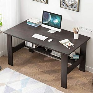 US Fast Shipment Quaanti Home Office Desk 40 inch - Modern Desktop Computer Desk Gaming PC Laptop Desk Work Table,Home Bedroom Furniture-Workstation-Students Study Writing Desk Wood Table (Black)
