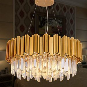 MEELIGHTING Gold Plated Luxury Modern Crystal Chandelier Lighting Contemporary Raindrop Chandeliers Pendant Ceiling Lights Fixture for Dining Room Living Room Hotel Bedroom W21.6""