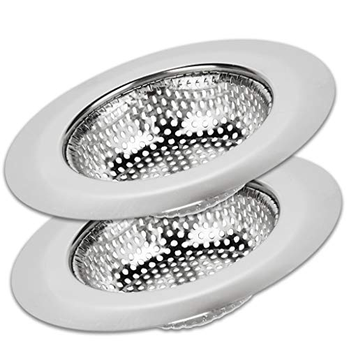 SoLID (TM) Kitchen Sink Strainer Basket Catcher 2 pack 4.5 inch Diameter, Wide Rim Perfect for Most Sink Drains, Anti-Clogging Micro Perforation Holes, Rust Free, Dishwasher Safe