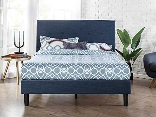 Zinus Omkaram Upholstered Navy Button Detailed Platform Bed / Mattress Foundation / Easy Assembly / Strong Wood Slat Support, Queen