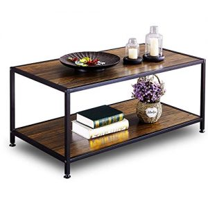 GreenForest Coffee Table Industrial for Living Room Metal Frame Open Shelf Storage, Walnut