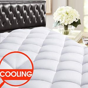 """SOPAT Queen Reversible Mattress Pad Cover Quilted Fitted Cooling Mattress Topper Pillow Top with Down Alternative Fill (8-21"""" Fitted Deep Pocket) for All Season"""
