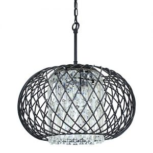 Edvivi 3-Lights Antique Black Round Drum Shade Crystal Chandelier Ceiling Fixture | Contemporary Lighting
