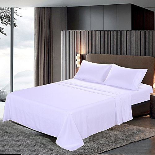 htovila 110 GSM Bed Sheet Set, Pillowcases Set- Wrinkle, Fade, Stain Resistant, Luxury Soft and Comfortable Bedding Set 4 Piece(White, Queen)