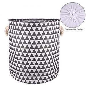 19.7-Inches Thickened Large Laundry Basket, Laundry Hamper with Durable Cotton Handle, Drawstring Waterproof Round Collapsible Storage Basket(Black)