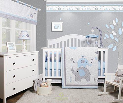 GEENNY OptimaBaby Blue Grey Elephant 6 Piece Baby Nursery Crib