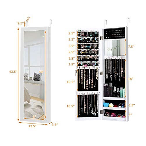 Giantex Jewelry Armoire Cabinet Wall Door Mounted with Full Length Mirror Model: Giantex