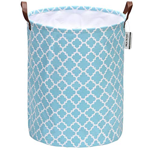 Sea Team Moroccan Lattice Pattern Laundry Hamper Canvas Fabric Laundry Basket Collapsible Storage Bin with PU Leather Handles and Drawstring Closure, 19.7 by 15.7 inches, Aqua
