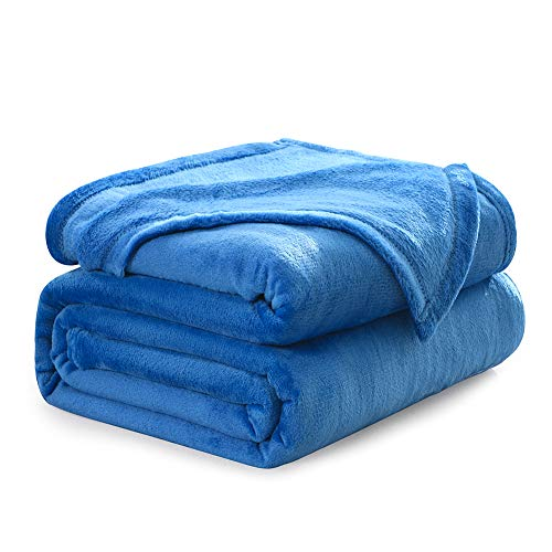 """NANPIPER Flannel Fleece Princess Blue Blanket Throw Size Luxury Microfiber Soft Throw 50"""" x 65"""" Fluffy Solid Throw Blanket for Couch/Bed"""