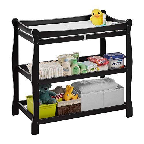 """Kealive Baby Changing Table, Infant Diaper Changing Table Natural Wood 2 Fixed Shelves Storage, Nursery Station with Changing Pad and Safety Belt, BPA Free, 37.4""""L x 18.9""""W x 35.8""""H, Black"""