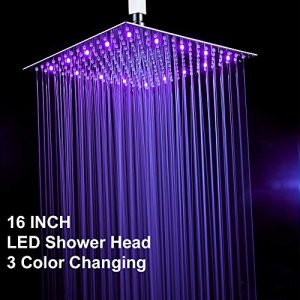 Fyeer 16 Inches Square LED Fixed Rainfall Shower Head Ultra-thin Ceiling Mounted, 3-LAYER Luxury Bathroom Shower Heads Mirror Chrome Polished 304 Stainless Steel, Temperature Sensor 3 Colors Changing